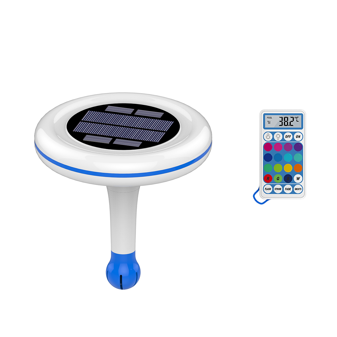 Solar Pool Light and Wireless Thermomete